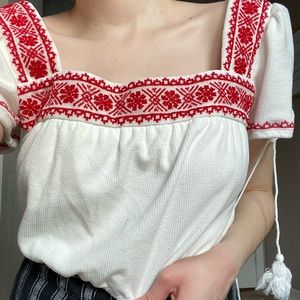 Forever 21 red white crop top